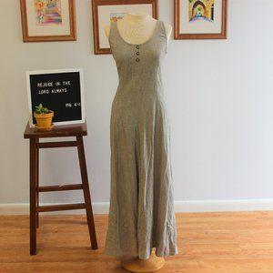 Vintage 90s Minimal Linen Blend Tank Dress Sz S M